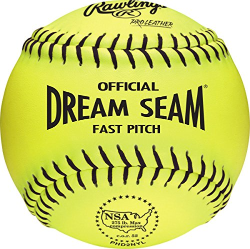 Rawlings Official NSA Dream Seam Fastpitch Softballs, 12 Count, PHD2NYL