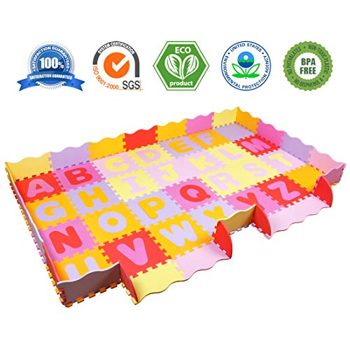 AIMERDAY Baby Play Mat with Fence, 7.7 x4.8 Extra Large Non-Toxic Playmat for Infants Toddlers Kids, Soft Foam Letters Floor Tiles Interlocking Alphabet Crawling Mat for Tummy Time Playroom Nursery