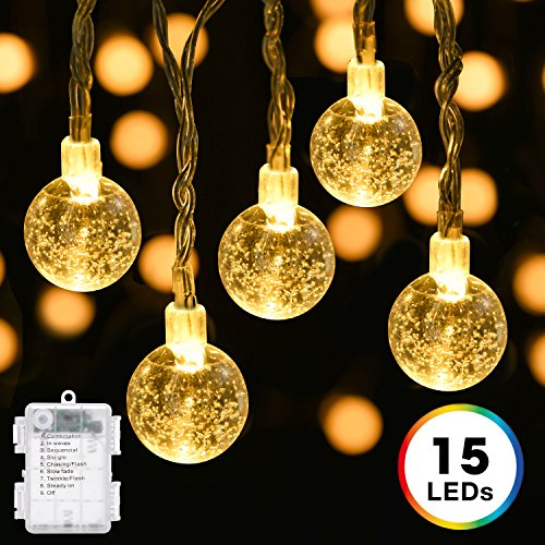 Battery Operated Globe String Lights, DecorNova 9.8 Feet 15 LED Crystal Ball String Lights with Waterproof 3 AA Battery Case & 8 Lighting Modes for Indoor Outdoor Decorations, Warm White