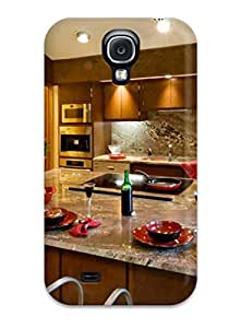 Anti-scratch And Shatterproof Granite Countertops And Backsplash With Large Kitchen Island Phone Case For Galaxy S4/ High Quality Tpu Case