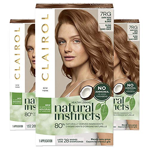 Clairol Natural Instincts Semi-Permanent, 7RG Dark Rose Gold Blonde, Rose Gold, 3 Count (Natural Red Hair With Strawberry Blonde Highlights)