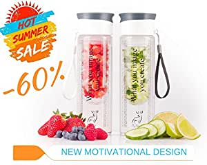 My Deer Fruit Infused Water Bottle insulated, Insulating Sleeve and Carrying Strap included, Fruit Infuser Water Bottle 24 oz, Sport Water Bottle Leak Proof BPA Free