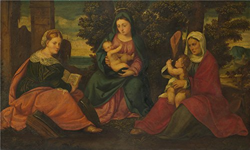 Oil Painting 'Style Of Bonifazio Di Pitati The Madonna And Child With Saints' 12 x 20 inch / 30 x 51 cm , on High Definition HD canvas prints, gifts for Bath Room, Home Office And Home Theater decor
