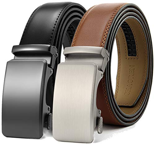 Chaoren Leather Ratchet Belt 2 Pack Dress with Click Sliding Buckle 1 3/8