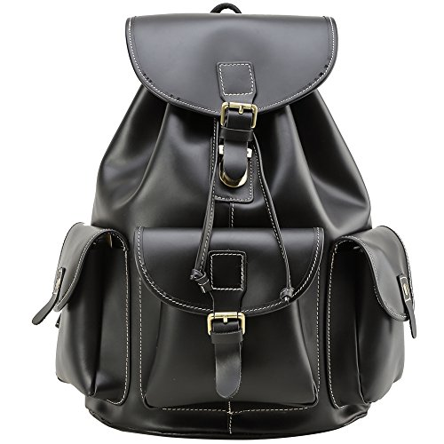 Berchirly Genuine Leather Retro Rucksack Backpack College School Picnic Bag Travel by Berchirly