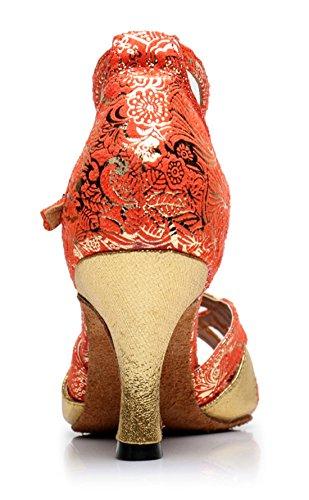 TDA Womens A2012 Classic Simple Style Lace-up Synthetic Ballroom Evening Wedding Modern Latin Dance Shoes 6cm Heel Orange xd5Ei