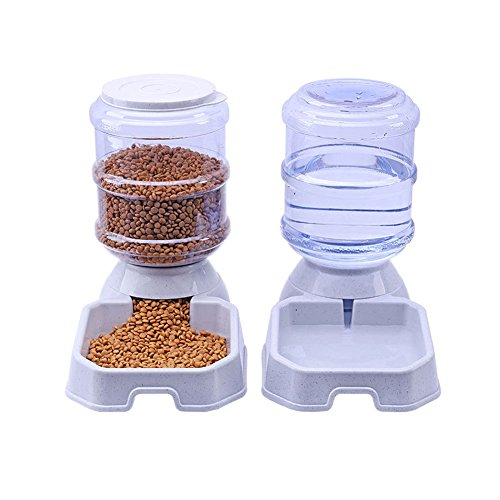 Chuanyue Pet Waterer Feeder,Pet Automatic Waterer,Dog Water Dispenser,1 Gallon Cat Dog Food and Water Dispenser (Waterer+Feeder)