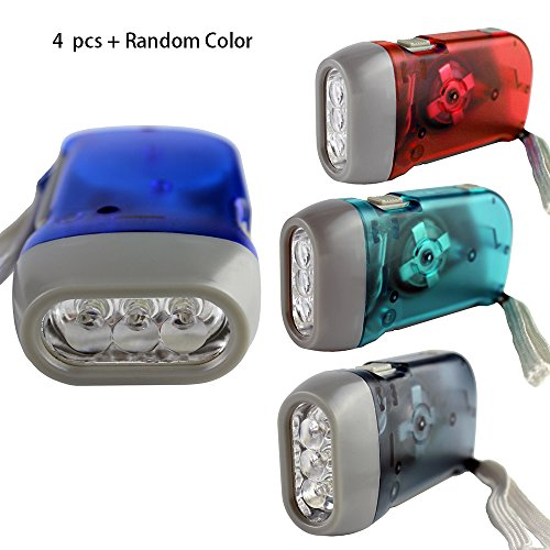 4 Pack Hand Crank Flashlight , Powerful Emergency Light Safety Tool With 3 LED White Light , No-Battery Required ,  Mini Lamp Torch Fire Translucent Case For Camping , ()