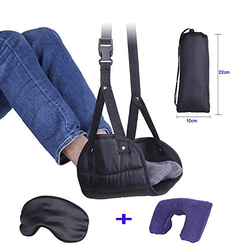 AUBBC Foot Hammock Adjustable Airplane Footrest Hammock with Inflatable Travel Pillow and Sleep Mask for Travelling,3 in 1 Portable Traveling Essentials Set - Provide Relaxation and Comfort for Flight