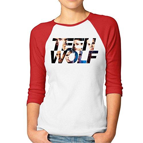 Price comparison product image HOHOE Woman's 3 / 4 Sleeve Raglan Wolf Actor Plain Baseball Tee Red S