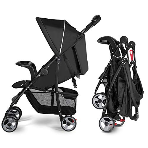 (Costzon Lightweight Baby Stroller, Foldable Stroller with 5-Point Safety System and Multi Position Reclining Seat (Black))