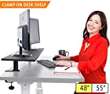 Stand Steady 48'' Clamp-on Desk Shelf - Extra Large Surface Supports 3 Monitors - Sturdy 4 ft Monitor Riser Easily Attaches with Clamp - No Screws Needed! (Large - 48 Inch)