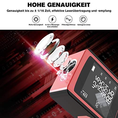 Laser Entfernungsmesser 60m mit Elektronischer Winkelsensor, LCD Hintergrundbeleuchtung, Pythagoras/Abstand/Fläche/Volumen Messungen(0,05~60m/±2mm, m/in/ft/ft+in, 99 Datenspeicherung)