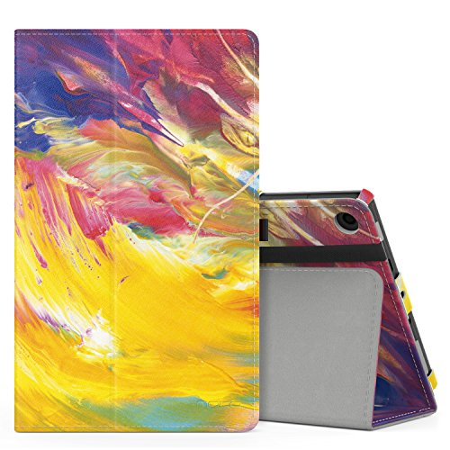 MoKo Case for All-New Amazon Fire HD 8 Tablet (7th and 8th Generation, 2017 and 2018 Release) - Slim Folding Stand Cover for Fire HD 8, Painted Sky (with Auto Wake / Sleep)
