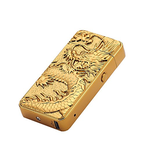 DaLanZom Chinese Dragon USB Rechargeable Windproof Electric Plasma Arc Lighter , Flameless Electronic Pulse Arc Cigarette Lighter Set with USB Charging Cable (Gold)
