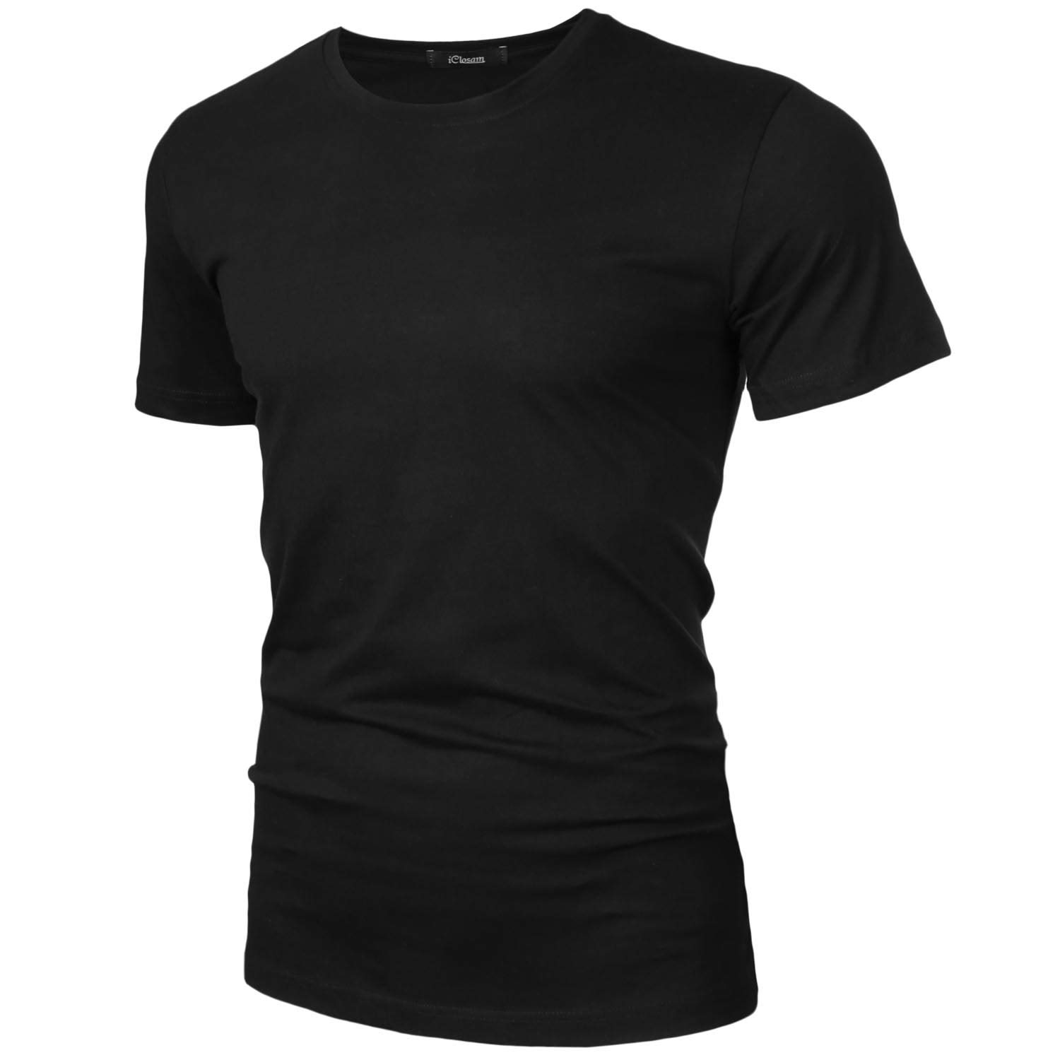iClosam Men's Short Sleeve T-Shirt Crewneck Basic Solid Henley Tee T-Shirts Black by iClosam (Image #2)
