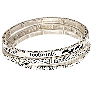 Footprints Poem Phrase Engraved Stretch Bangle Bracelets 3 pieces Set Filigree