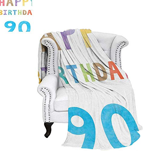 WilliamsDecor 90th Birthday Velvet Plush Throw Blanket Happy Greeting Lettering in Watercolors Pastel Text with Paint Effect Image Weave Pattern Blanket 60