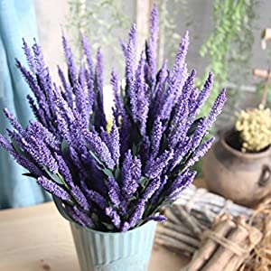 Vovomay 12-Heads Artificial PE Lavender Fake Flower, Wedding Bouquet Party Home Decor (d) 99