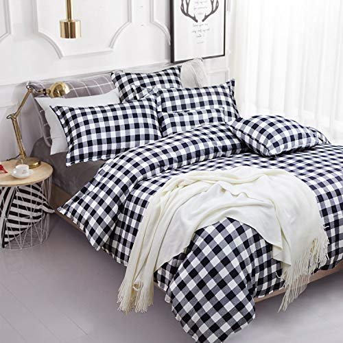 FADFAY Buffalo Plaid Duvet Cover Set 100% Cotton Hypoallergenic 3Pcs Black and White Gingham Plaid Geometric Checker Bedding Set with Zipper Closure, 1Duvet Cover + 2Pillowcases, Full Size ()