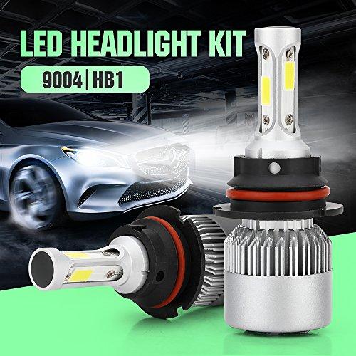 Bulb 9004 White Light (TUINCYN 9000 Lumens Philip Bridgelux COB LED Chips 9004/HB1 LED Fog Light Bulbs Extremely White LED Headlight Bulbs Conversion Kit 6500K 72W Daytime Running Light)