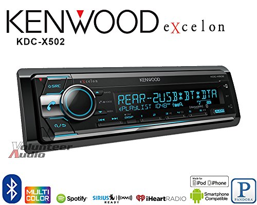 Volunteer Audio Kenwood KDC-X502 Car Stereo Double Din Radio with Bluetooth, CD Player, (Ic Dual Audio Preamp)
