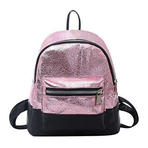 Mini zaini di cuoio dell'unità di elaborazione delle donne, sacchetto di spalla casuale della chiusura lampo del sacchetto di scuola delle ragazze adolescenti per la corsa Pink