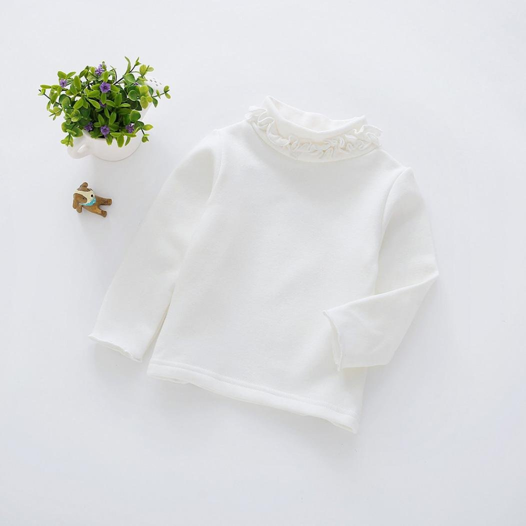 ASTV Baby Girls Cotton Long Sleeve T Shirt Turtle Neck Solid Blouse Tops Bottom Tees