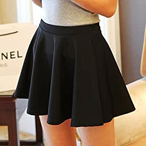 Fashion Women Bottoming Pleated Skirt Sundress Four Season Adapting (Black)