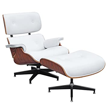 Modern Classic Plywood Lounge Chair U0026 Ottoman With Palisander Base U0026 White  Leather Uphostery!