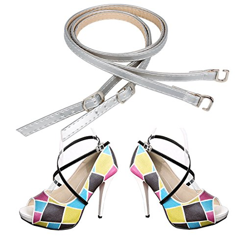 Andux Frauen Abnehmbar Anti-Rutsch Abnehmbare Schuhbaender Zum Befestigen von hochhackigen Schuhen und flache schuhe 1 Paar PXD-02 Spiegel Silber