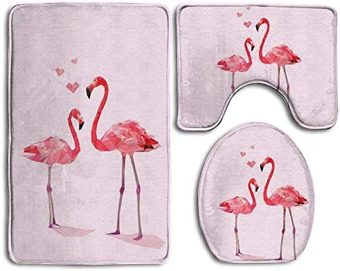 CoolsomeJies Bath Mat,3 Piece Bathroom Rug Set,Pink Flamingo Flannel Non Slip Toilet Seat Cover Set,Large Contour Mat,Lid Cover