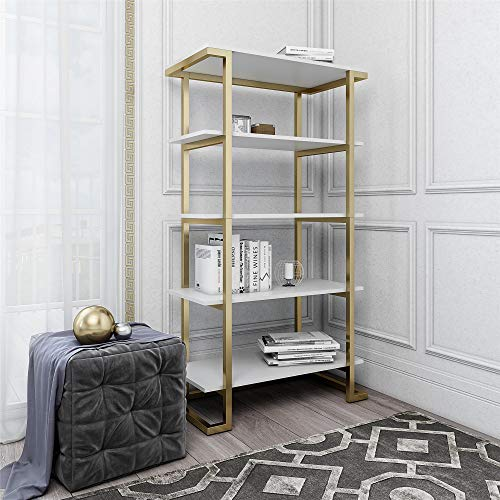 CosmoLiving Camila 5 Shelf Bookcase, White ()