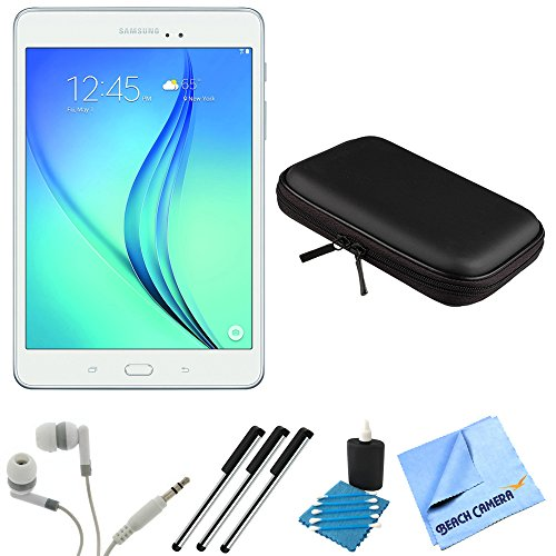 Samsung Galaxy Tab A SM-T350NZWAXAR 8-Inch Tablet (16 GB, White) Bundle includes Tablet, Headphones, Sleeve, 3 Stylus Pens, Lens Cleaning Kit and Micro Fiber Cloth by Samsung