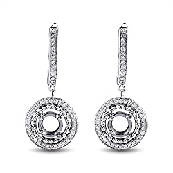 White Gold Natural Diamond Semi Mount Earrings