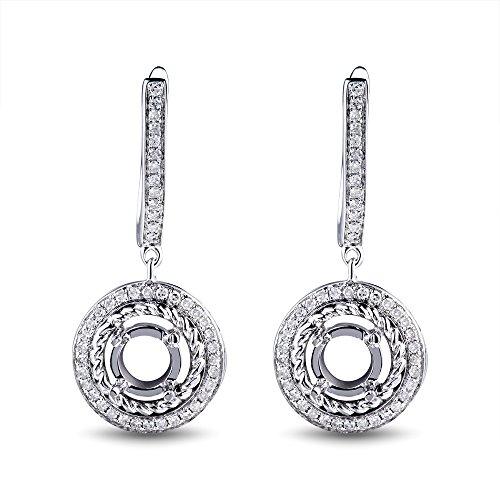 (14K White Gold Women's Bridal Round 5mm Round Natural Diamond Semi Mount Ring Set No Center Stone)
