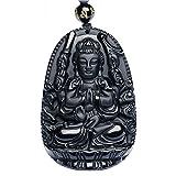 Buddha Bodhisattva Pendant Necklace Amulet Talisman of Obsidian (Avalokiteshvara (Compassion) - For women)