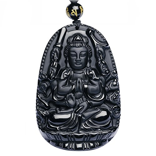 Buddha Bodhisattva Pendant Necklace Amulet Talisman of Obsidian (Avalokiteshvara (Compassion) - For - Flats Buddha Big