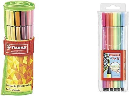 colore: Blu//nero//rosso//verde Stabilo 8820-6 10 confezioni Office Box Pennarellini Fineliner 88 Big Point