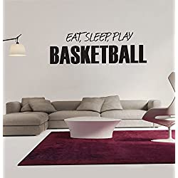 "Amaonm® Black Vinyl Quotes & Saying ""EAT, SLEEP, PLAY BASKETBALL"" Wall Decals Sports Lettering Wall Stickers Murals Living room art Decor Kids room boy Bedroom Playroom School Wall Decal"