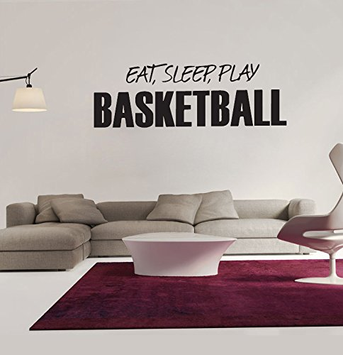 """Amaonm® Black Vinyl Quotes & Saying """"EAT, SLEEP, PLAY BASKETBALL"""" Wall Decals Sports Lettering Wall Stickers Murals Living room art Decor Kids room boy Bedroom Playroom School Wall Decal"""