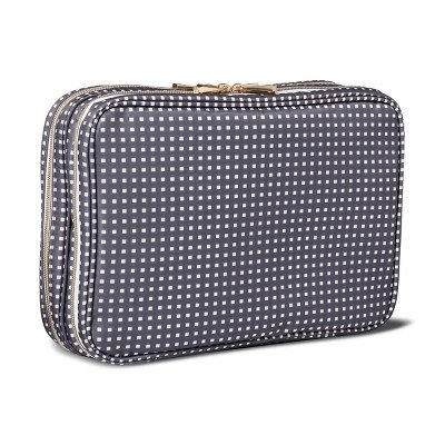 Sonia Kashuk153; Cosmetic Bag Travel Tote Charcoal Squares CHARCOAL HEATHER