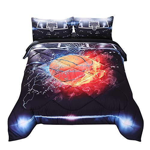 Wowelife Basketball Bedding 3D Basketball Comforter Set Twin Fire Black Pattern 5 Pieces with Comforter, Flat Sheet, Fitted Sheet and 2 Pillow Cases for Boys(Red Basketball, Twin)