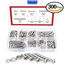 Hilitchi 300-Piece M3 Phillips Pan Head Screws Bolt Nut Lock Flat Washers Assortment Kit, 304 stainless steel (M3)