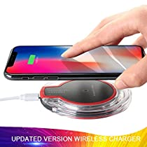 Wireless Charger, 5 W Fast Wireless Charging Stand, Qi-Certified, Compatible Phone XR/Xs Max/XS/X/8/8 Plus, Fast-Charging Galaxy S10/S9/S9+/S8/S8+/Note 9/Note 8 (No AC Adapter)-Red