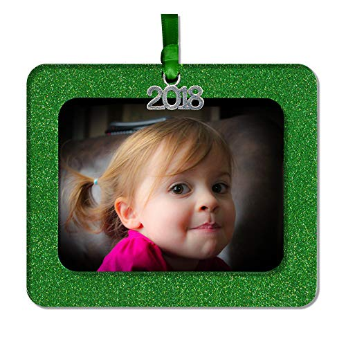 (2018 Magnetic Glitter Christmas Photo Frame Ornament with Non Glare Photo Protector, Horizontal - Green)