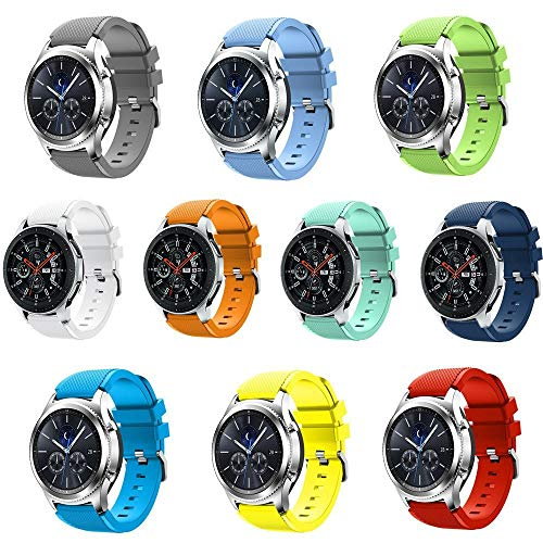 Leefrei Soft Silicone Sport Watch Band 22mm Replacement Strap Compatible with Samsung Galaxy Watch (46mm) Gear S3 Frontier/Classic Smart Watch (Pack of 10) ()