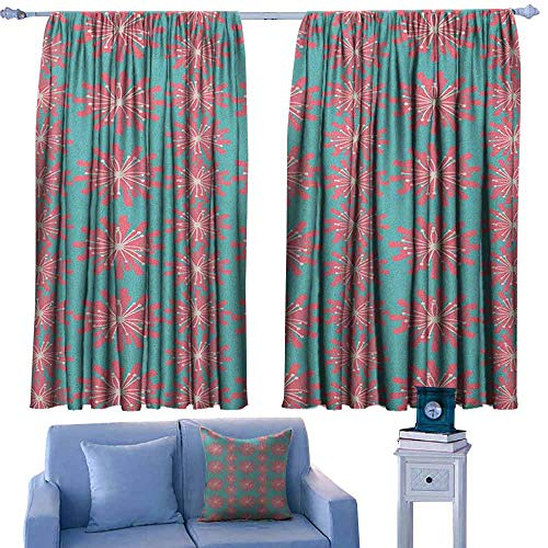Mannwarehouse Outdoor Thermal Curtains Germinating Plants Wildflowers Twigs Sprouts Buds Lively Rustic Patio Print Privacy Protection 55