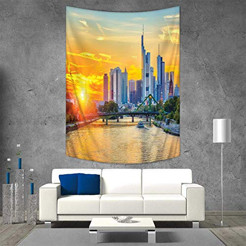 Wanderlust Tapestry Table Cover Bedspread Beach Towel Frankfurt Sunset Architecture Landmark Skyscraper Vibrant Colors Waterfront Dorm Decor 54W x 72L INCH Marigold Blue