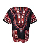 Lofbaz Traditional African Print Unisex Dashiki Size L Black and Orange